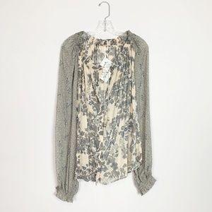 Free People   floral print long sleeve blouse M